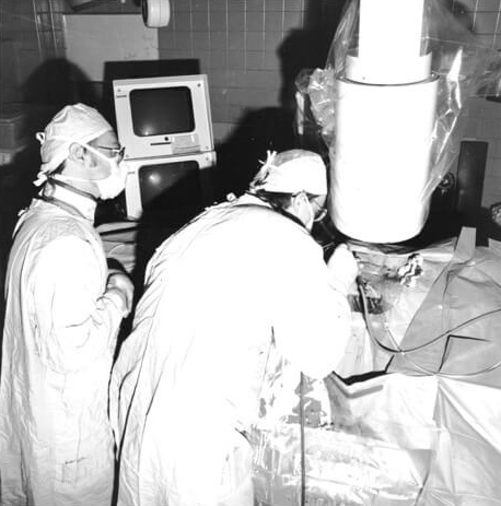 Dr. Wilson performing a percutaneous renal stone procedure in Kingston, 1983