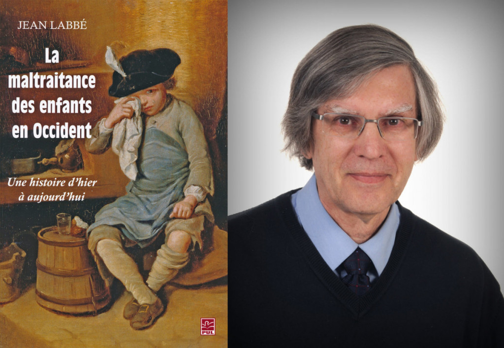 "Cover of the book titled ""La maltraitance des enfants en Occident"" [Child maltreatment in the West]. Next to the book cover, on the right, is a photo of the author, Dr. Jean Labbé"