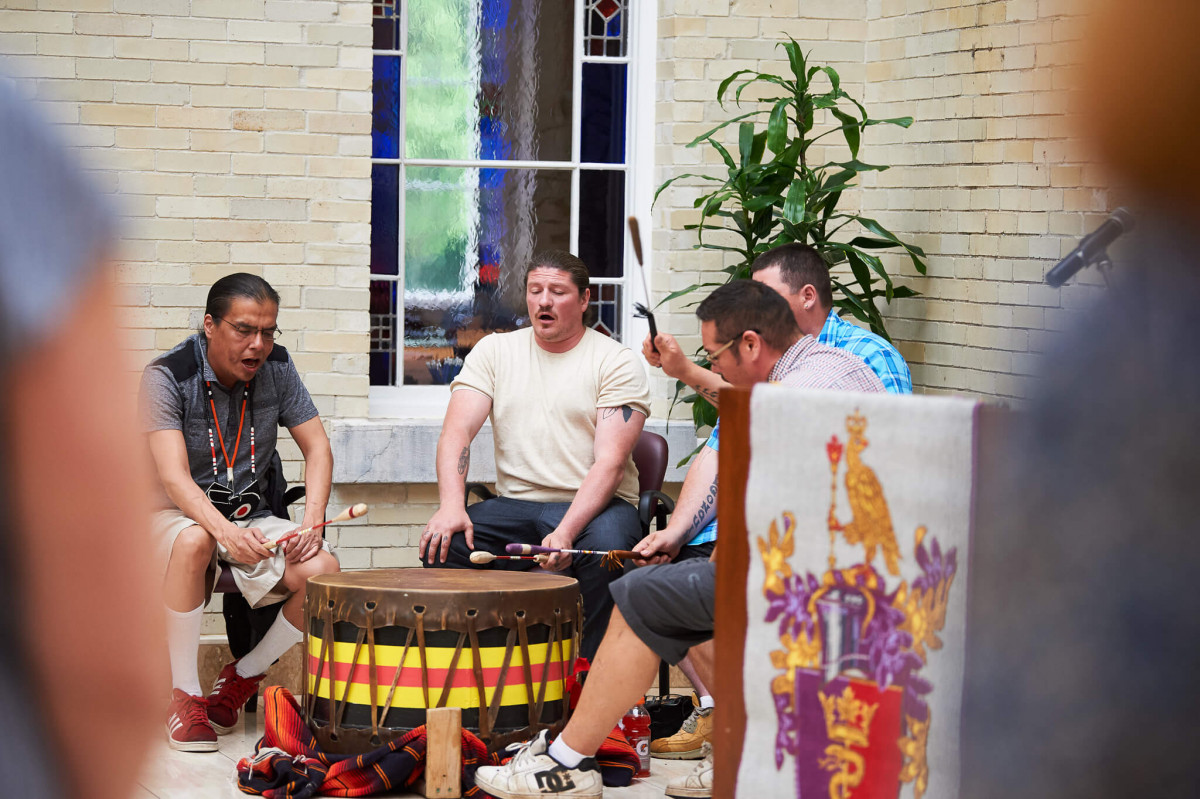 The Bear Nation drum group from Algonquins of Pikwakanagan First Nation performs at the Royal College of Physicians and Surgeons of Canada in Ottawa during the flag raising ceremony