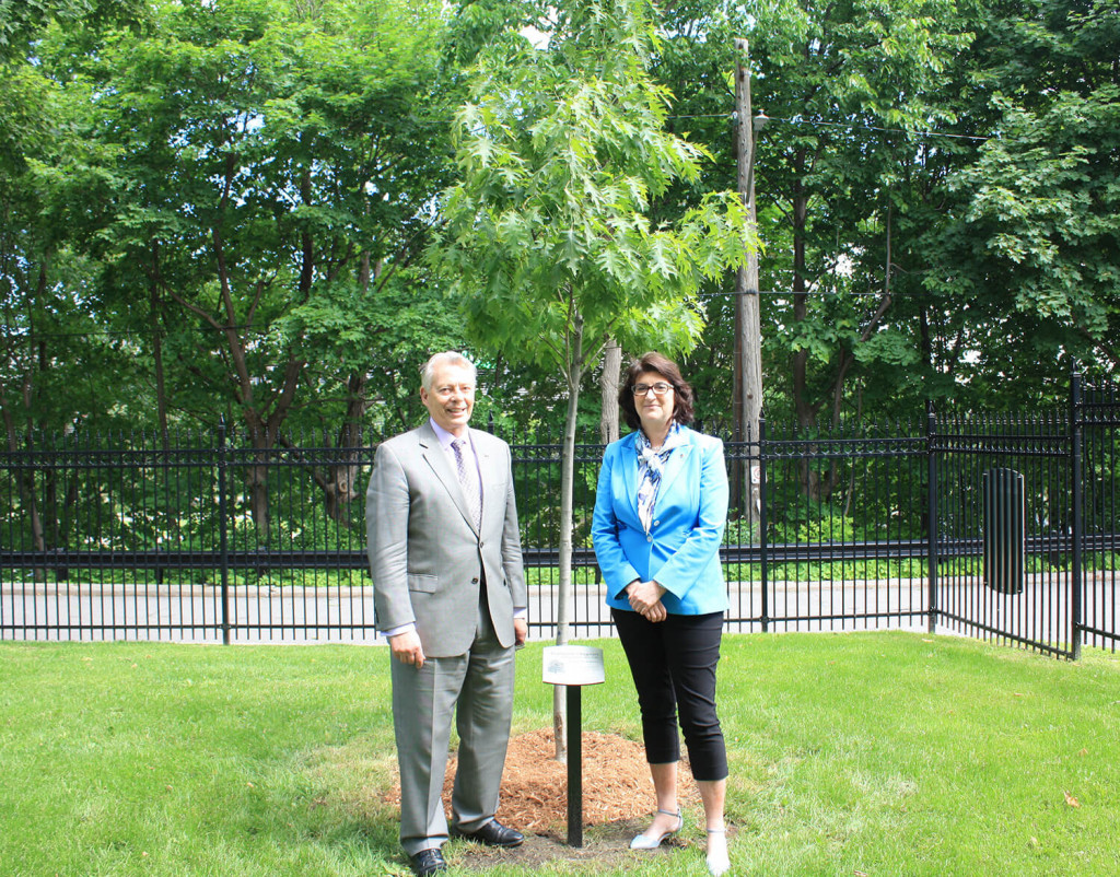 Past-President Dr. Francoise P. Chagnon (right) and President Ian Bowmer, MD, FRCPC, in front of the red oak that Dr. Chagnon gifted to the Royal College. The presentation took place on June 21, 2019 — National Indigenous Peoples Day.