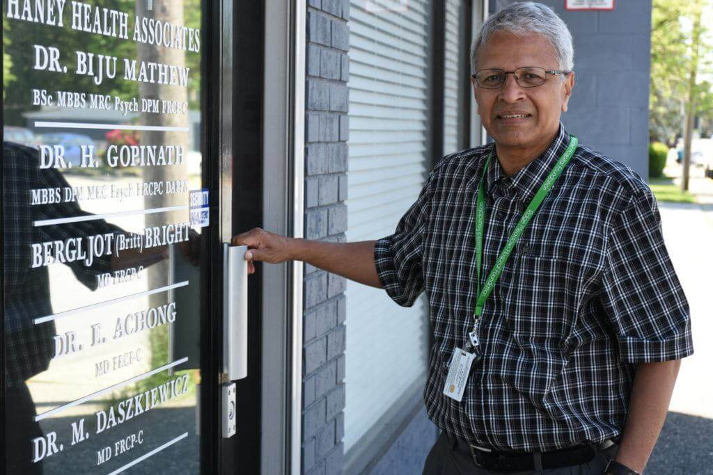 Dr. Mathew outside of his office in Maple Ridge, B.C. (Credit: Phil Melnychuk/THE NEWS)