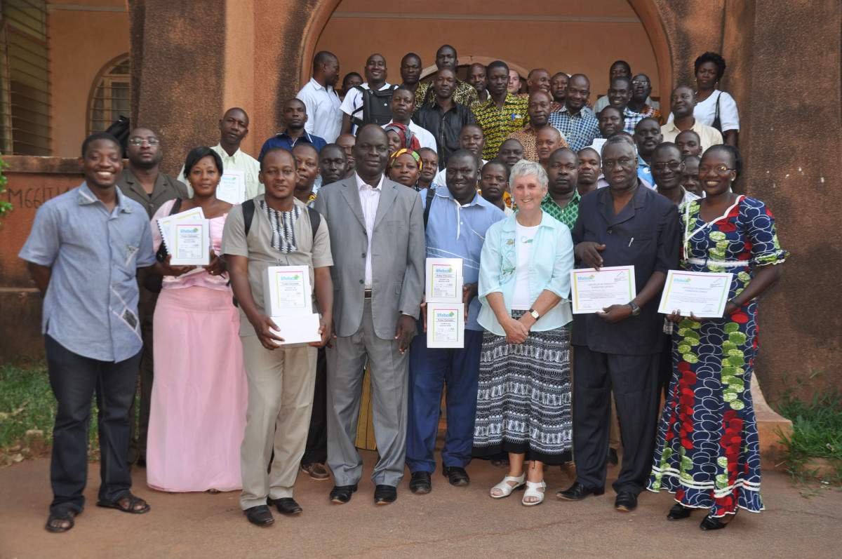 Dr. Enright with participants from the Pulse Oximetry course in Burkina-Faso.