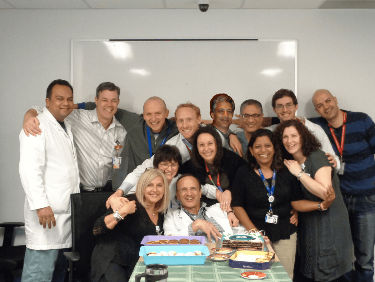 Dr. Laberge with his colleagues, during his birthday celebrations.